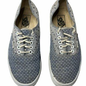 Vans Womens 9 Blue White Polka Dots Flower Shoes